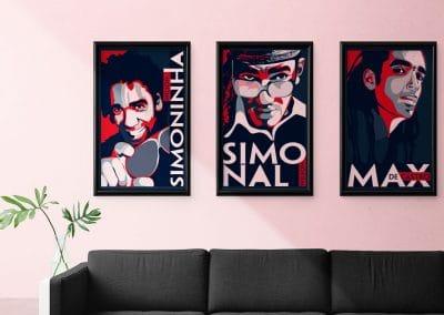 Ilustrações para fã clube de Wilson Simonal / Simoninha / Max de Castro